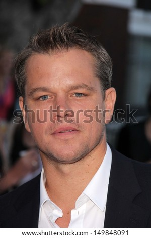 "Matt Damon at the ""Elysium"" Los Angeles Premiere, Village Theater, Westwood, CA 08-07-13 - stock photo"