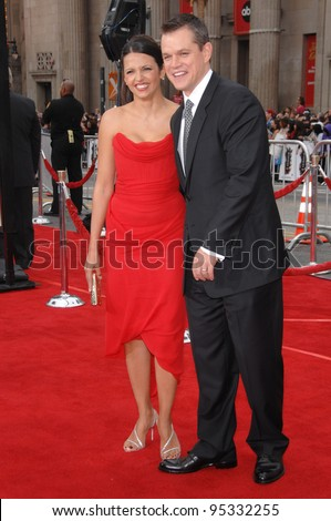 "Matt Damon & wife Luciana Barroso at the North American premiere of ""Ocean's Thirteen"" at Grauman's Chinese Theatre, Hollywood. June 6, 2007  Los Angeles, CA Picture: Paul Smith / Featureflash"