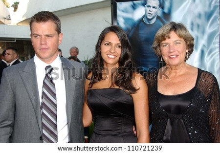 "Matt Damon with wife Luciana and mother Nancy at the world premiere of ""The Bourne Ultimatum"" Arclight Cinemas, Hollywood, CA. 07-25-07 - stock photo"