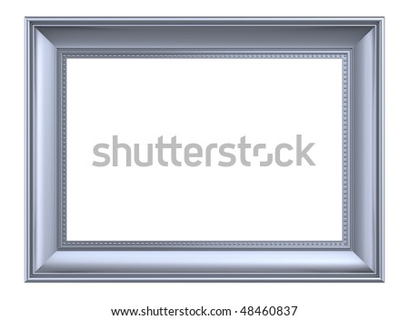 Matt silver rectangular frame isolated on white background. Computer generated 3D photo rendering. - stock photo