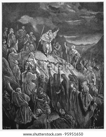 Mattathias Appealing to the Jewish Refugees - Picture from The Holy Scriptures, Old and New Testaments books collection published in 1885, Stuttgart-Germany. Drawings by Gustave Dore. - stock photo