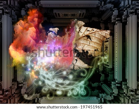 Matter Can Dream series. Backdrop design of fractal frames, graphic elements and lights to provide supporting composition for works on imagination, technology and design - stock photo