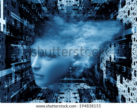 Matter Can Dream series. Composition of  fractal frames, graphic elements and human face to serve as a supporting backdrop for projects on imagination, technology and design - stock photo