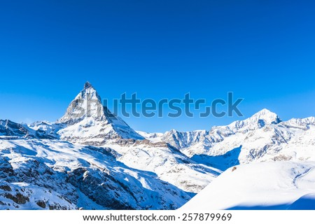 Matterhorn and Weisshorn in  in the Pennine Alps on the Italian-Swiss border - stock photo