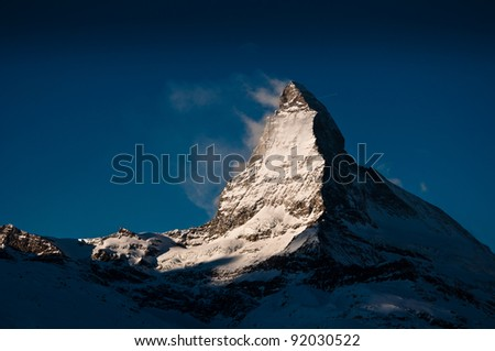 Matterhorn at Gornergrat Train, Switzerland - stock photo