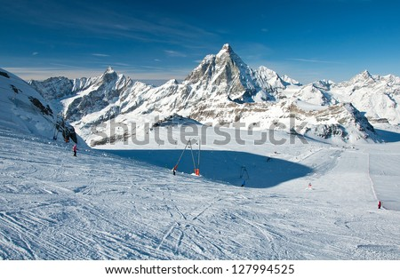Matterhorn glacier has a maximum width of approximately 2.5 km and reaches a minimum height of 2,800 metres - stock photo
