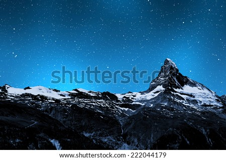 "Matterhorn in night sky - Swiss Alps ""Elements of this image furnished by NASA"". - stock photo"