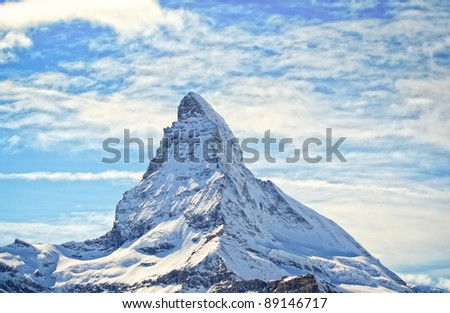 matterhorn in swiss alps in winter - stock photo