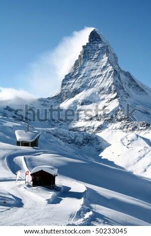 Matterhorn in Winter - stock photo