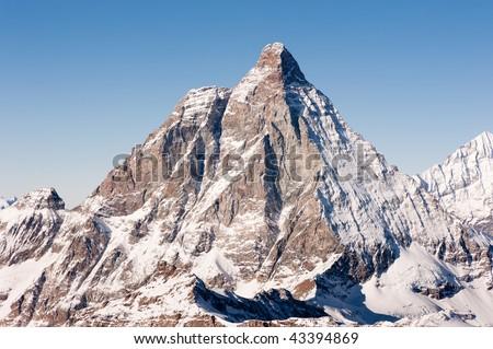 matterhorn mountain peak at dawn, view from kl. Matterhorn, Zermatt, Switzerland - stock photo