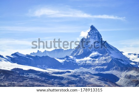 Matterhorn peak with blue sky background, Zermatt, Switzerland