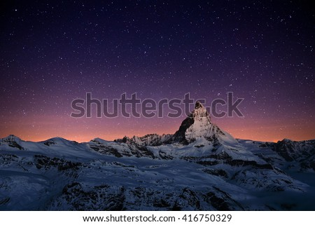 Matterhorn peak, Zermatt, Switzerland. - stock photo