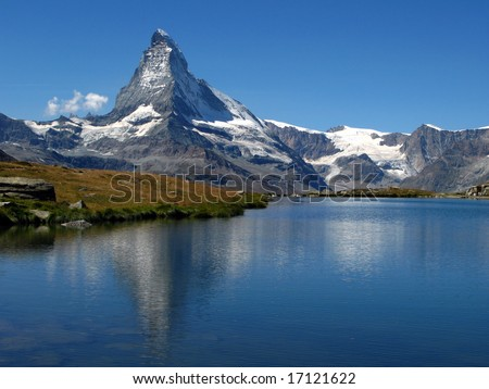 Matterhorn reflecting in Stellisee 06, Switzerland