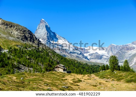 Matterhorn - small village with houses in beautiful landscape of Zermatt, Switzerland