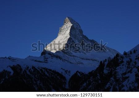Matterhorn, view from Zermatt at sunrise - stock photo
