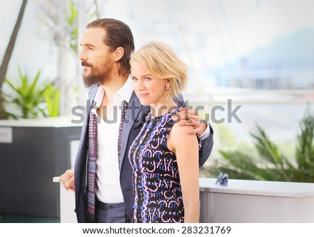 Matthew McConaughey and Naomi Watts attend the 'The Sea of Trees' photocall during the 68th annual Cannes Film Festival on May 16, 2015 in Cannes, France. - stock photo