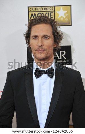 Matthew McConaughey at the 18th Annual Critics' Choice Movie Awards at Barker Hanger, Santa Monica Airport. January 10, 2013  Santa Monica, CA Picture: Paul Smith - stock photo