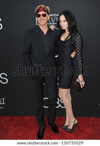 "Matthew Modine & daughter Ruby at the Los Angeles premiere of his movie ""Jobs"" at the Regal Cinemas LA Live. August 13, 2013  Los Angeles, CA - stock photo"