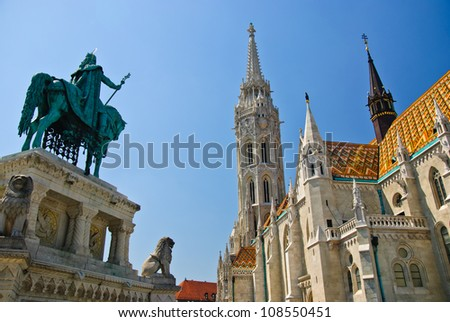 Matthias church and king St. Stephen I monument in Budapest, Hungary - stock photo