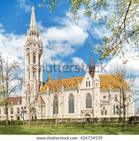 Matthias church  in Budapest, Hungary, on a bright day in Spring - stock photo