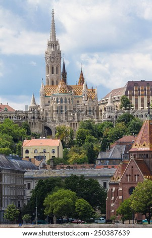 Matthias Church is a Roman Catholic church in the Romanesque style, located in Budapest, Hungary, in front of Fisherman's Bastion in the center of Buda Castle District - stock photo