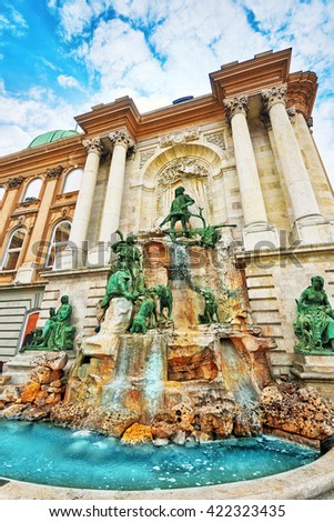 Matthias Fountain-is a monumental fountain group in the western forecourt of Buda Castle, Budapest. Hungary. - stock photo