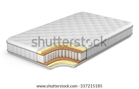 Mattress isolated on white - stock photo