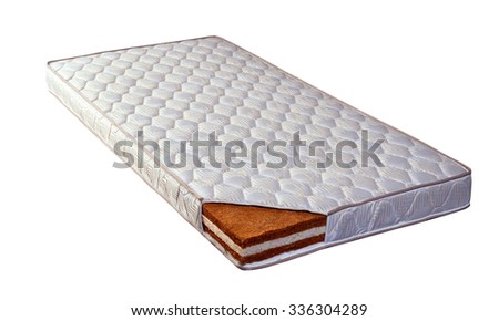 Mattress made of coconut fiber and sponge - stock photo