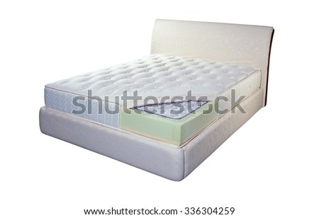 Mattress made of pocket springs and foam - stock photo