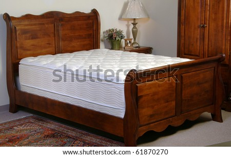Mattress testing display in the factory room set - stock photo