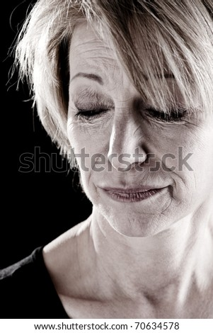 Mature Actress On Stage, facial expressions - stock photo