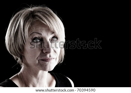 Mature Actress On Stage, scared expression? - stock photo