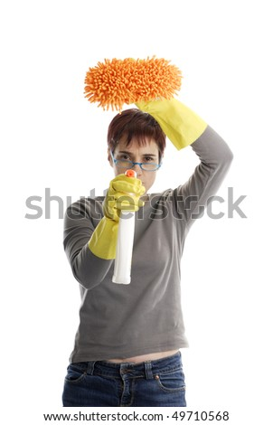 mature adult woman with spry and sponge doing some cleaning - stock photo