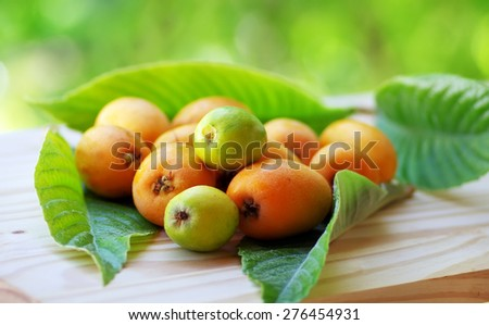 Mature and flavorful Loquats with green leaf - stock photo