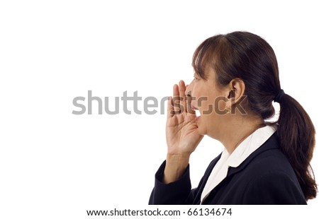 Mature Asian business Woman shouting isolated over white background - stock photo