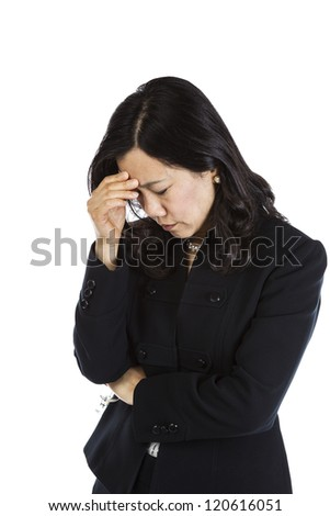 Mature Asian Woman displaying major stress on white background - stock photo