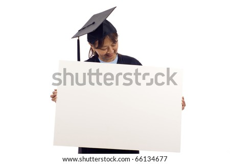 Mature Asian woman graduate holding a blank sign isolated over white background - stock photo