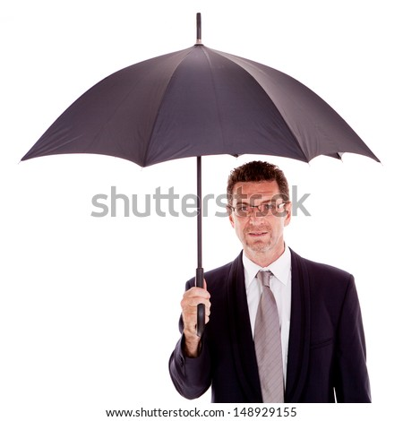 mature attractive business man with umbrella isolated on white - stock photo