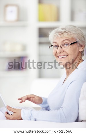 Mature attractive woman with a laptop at home - stock photo