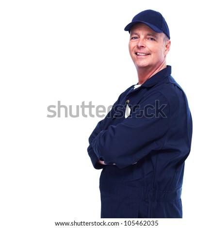 Mature auto mechanic. Isolated on white background. - stock photo
