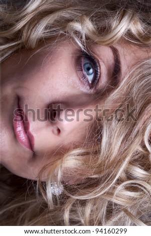 Mature beauty face closeup - stock photo