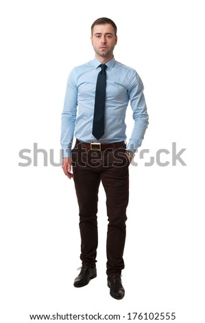 Mature business male in shirt Full Length standing on white background - stock photo