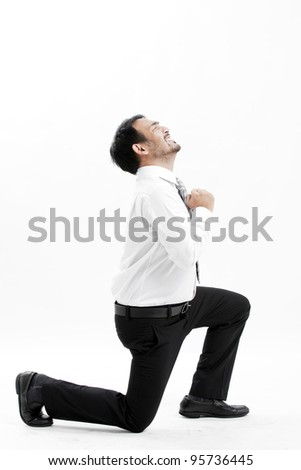 Mature business man begging, full length portrait isolated on white. - stock photo