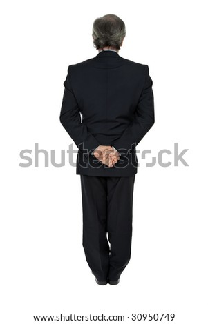 mature business man full body from back - stock photo