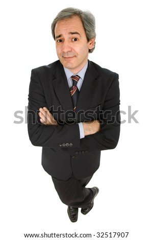 mature business man full body isolated on white - stock photo