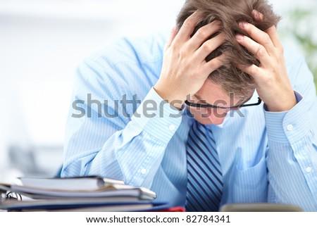Mature business man having a stress. Headache. - stock photo