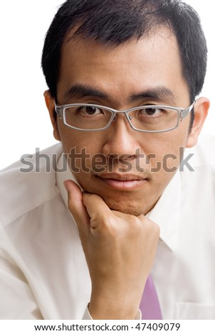 Mature business man of Asian portrait on white background. - stock photo