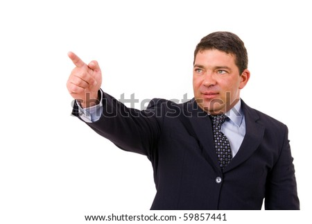 mature business man pointing with his finger, isolated on white
