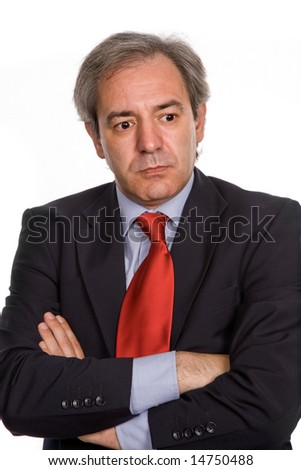 mature business man portrait in white background