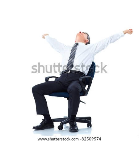 Mature business man relaxing. Over white background.